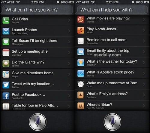 Siri Voice Commands